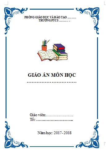 Mẫu bìa giáo án