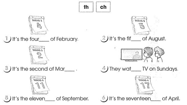 Bài tập cuối tuần môn Tiếng Anh lớp 4 Tuần 6
