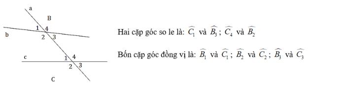 Trắc nghiệm: Các góc tạo bởi một đường thẳng cắt hai đường thẳng