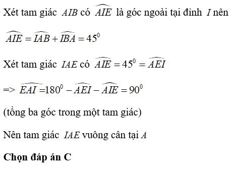 Trắc nghiệm: Tính chất ba đường phân giác của tam giác