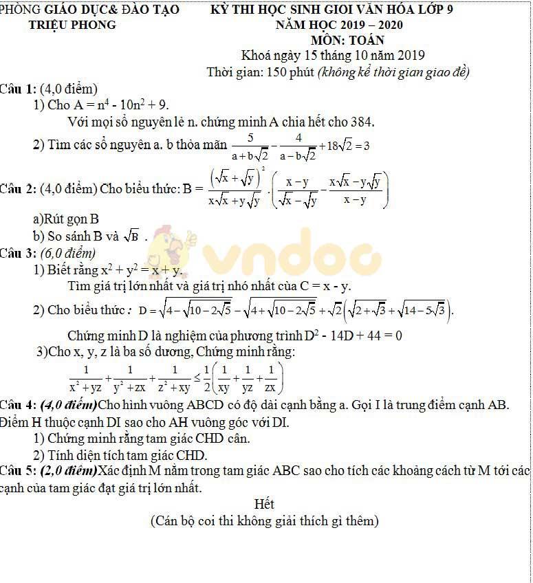 Đề thi chọn học sinh giỏi lớp 9 môn Toán Phòng GD&ĐT Triệu Phong, Quảng Trị năm học 2019 - 2020