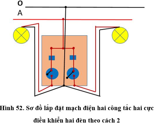 Lý thuyết Công nghệ 9 : Thực hành: Lắp mạch điện hai công tắc hai cực điều khiển hai đèn