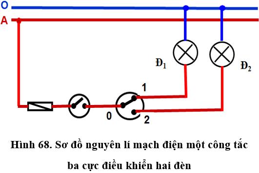 Lý thuyết Công nghệ 9: Thực hành: Lắp mạch điện một công tắc ba cực điều khiển hai đèn